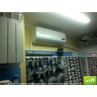 монтаж кондиционера в магазине сантехники